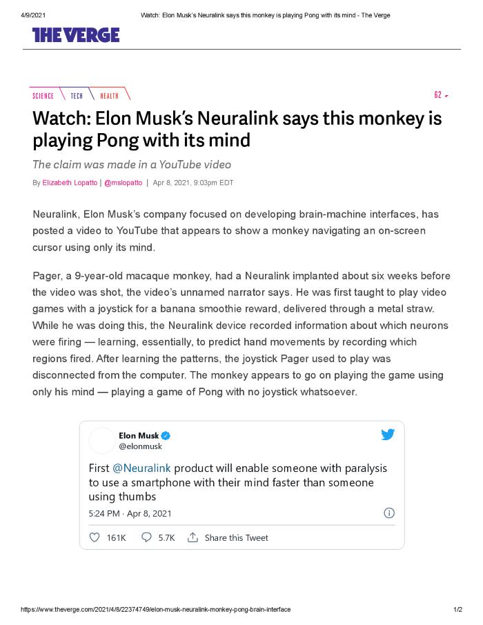 Elon Musk's Neuralink says this monkey is playing Pong with its mind
