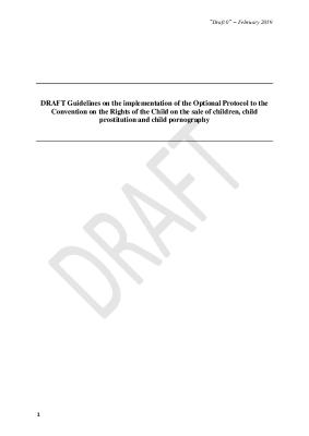 DRAFT Guidelines on the implementation of the Optional Protocol to the Convention on the Rights of the Child on the sale of children, child prostitution and child pornography