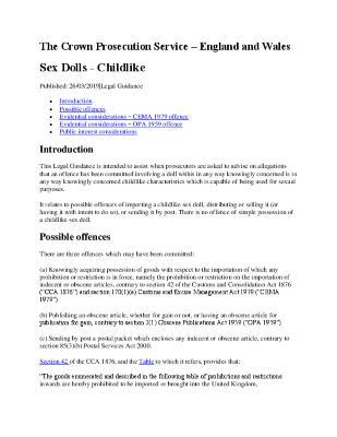 Childlike Sex Dolls United Kingdom Guidance