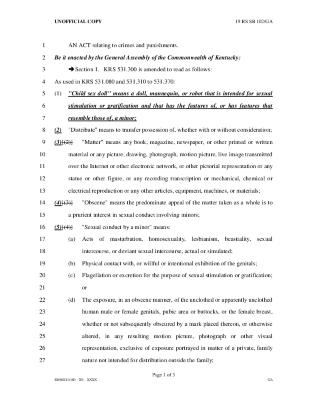Kentucky Senate Bill 102: An ACT relating to crimes and punishments