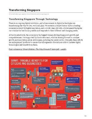 Smart Nation Singapore - Transforming Singapore through Technology