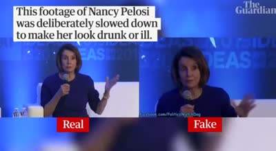 Footage of Nancy Pelosi deliberately slowed down to make her appear drunk