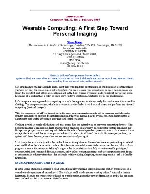 Wearable Computing: A First Step Toward Personal Imaging