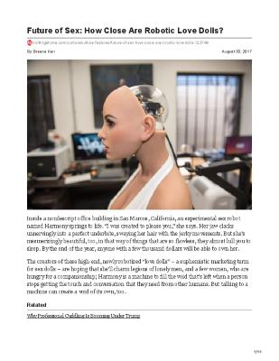 Future of Sex: How Close Are Robotic Love Dolls?
