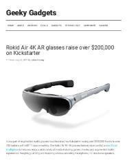 Rokid Air 4K AR glasses raise over $200,000 on Kickstarter