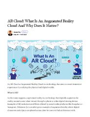 AR Cloud: What Is An Augmented Reality Cloud And Why Does It Matter?