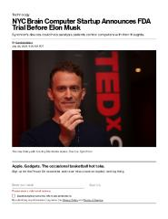 NYC Brain Computer Startup Announces FDA Trial Before Elon Musk
