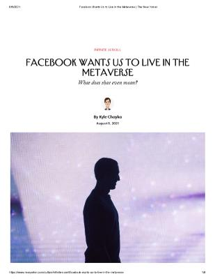 Facebook Wants Us to Live in the Metaverse