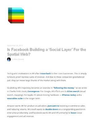 Is Facebook Building a 'Social Layer' For the Spatial Web?