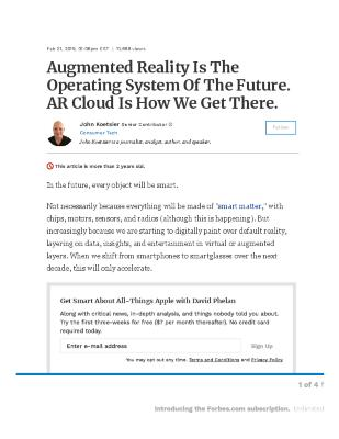 Augmented Reality Is The Operating System Of The Future. AR Cloud Is How We Get There.