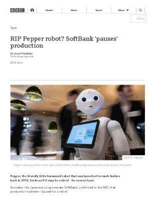 RIP Pepper robot? SoftBank 'pauses' production
