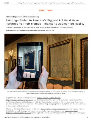 Paintings Stolen in America's Biggest Art Heist Have Returned to Their Frames—Thanks to Augmented Reality
