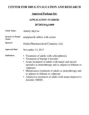 FDA Approval Letter Abilify MyCite (aripiprazole)