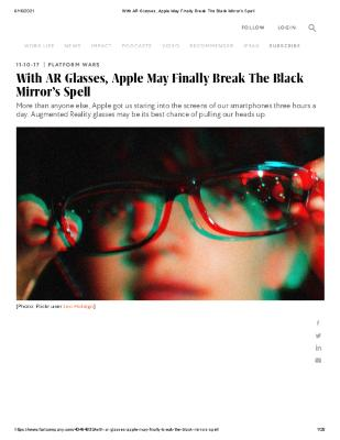 With AR Glasses, Apple May Finally Break The Black Mirror's Spell