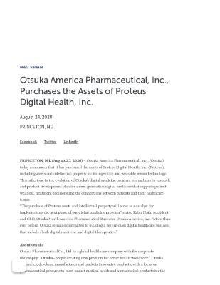 Otsuka America Pharmaceutical, Inc., Purchases the Assets of Proteus Digital Health, Inc.