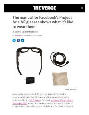 The manual for Facebook's Project Aria AR glasses shows what it's like to wear them