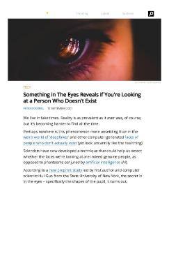 Something in The Eyes Reveals if You're Looking at a Person Who Doesn't Exist