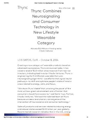 Thync Combines Neurosignaling and Consumer Technology in New Lifestyle Wearable Category - Attracts $13 Million in Funding from Khosla Ventures