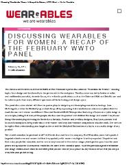 Discussing Wearables for Women: A Recap of the February WWTO Panel